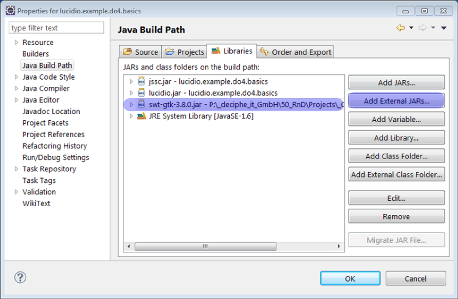 Eclipse add External SWT Library