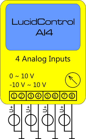 LucidControl USB ADC Module Schematic Connection