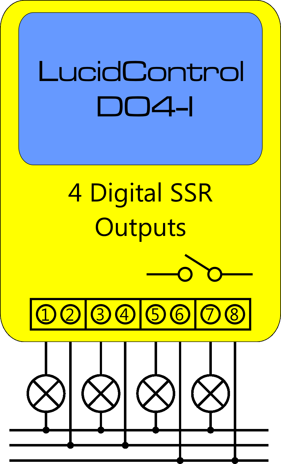 Usb Digital Output Module 4 8 Channels Din Rail Transistors Equivalent Circuit Of A Solid State Relay Electrical Lucidcontrol Schematic Connection