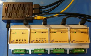 Raspberry Pi 2 B Network Device Server with 4 USB IO Modules connected