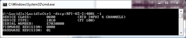 LucidIoCtrl Command Line Tool using TCP Socket Communication