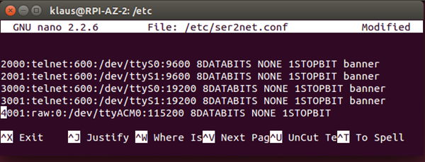 ser2net Configuration file