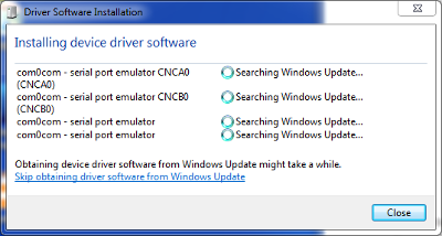 Windows Driver Update Installation of com0com Null-Modem Driver