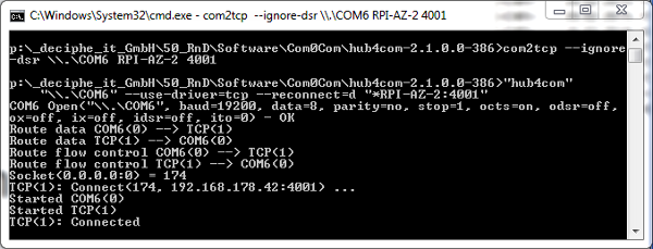 Connecting to a Network Device Server with com2tcp